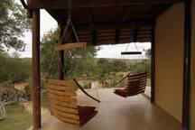 Veranda chairs facing river view