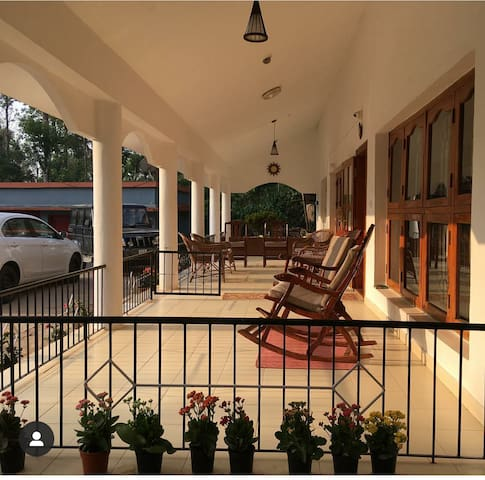 The portico where guests can relax