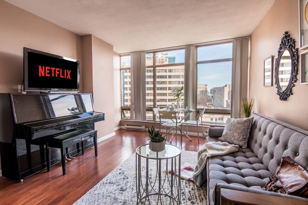 Bright living room with TV and Netflix