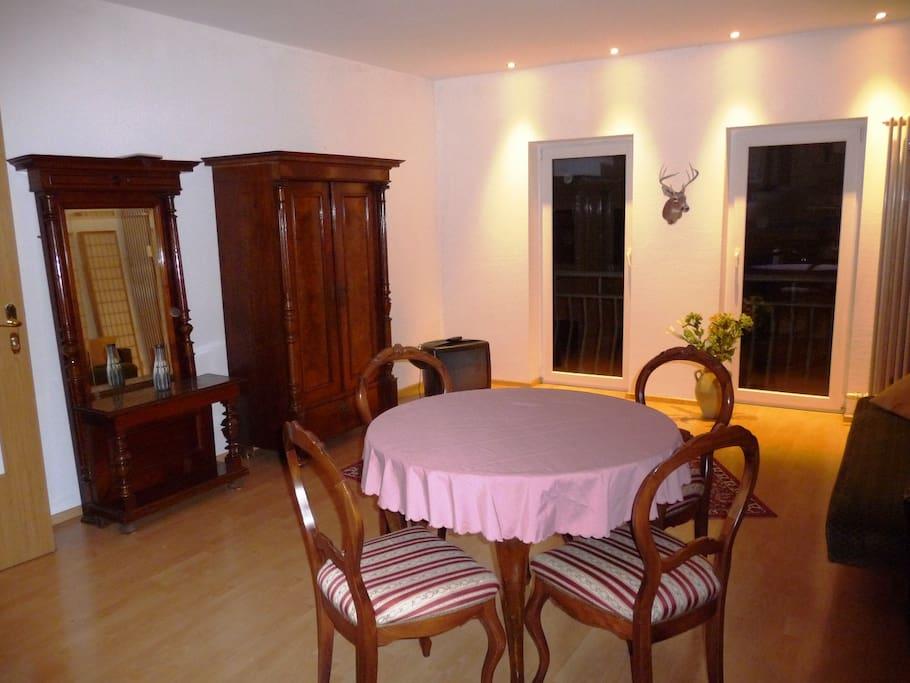 Blick von der Küche ins Wohn- / Schlafzimmer