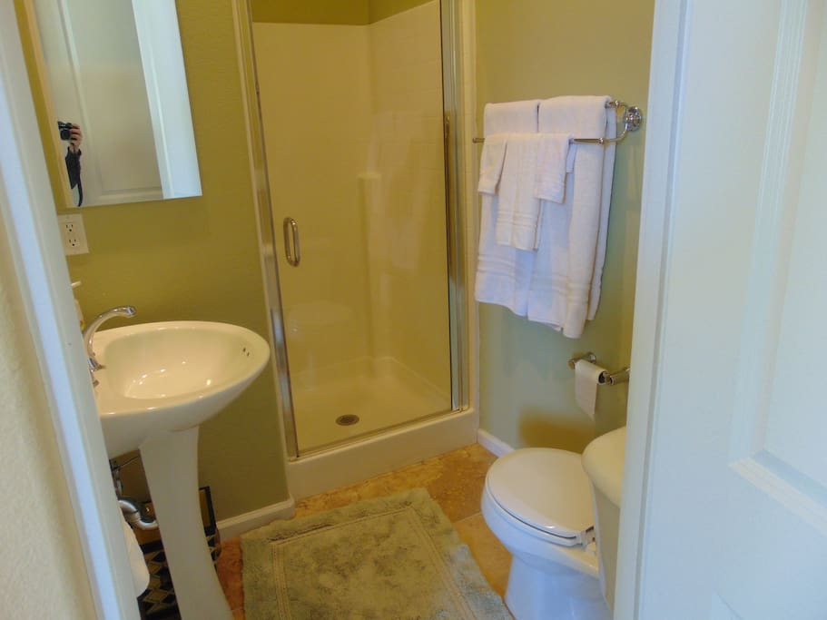 You will find a 3/4 bath, very clean and includes soap, shampoo, conditioner and a few other toiletries if you forget to bring something.