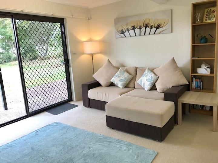 Garden apartment with lake views
