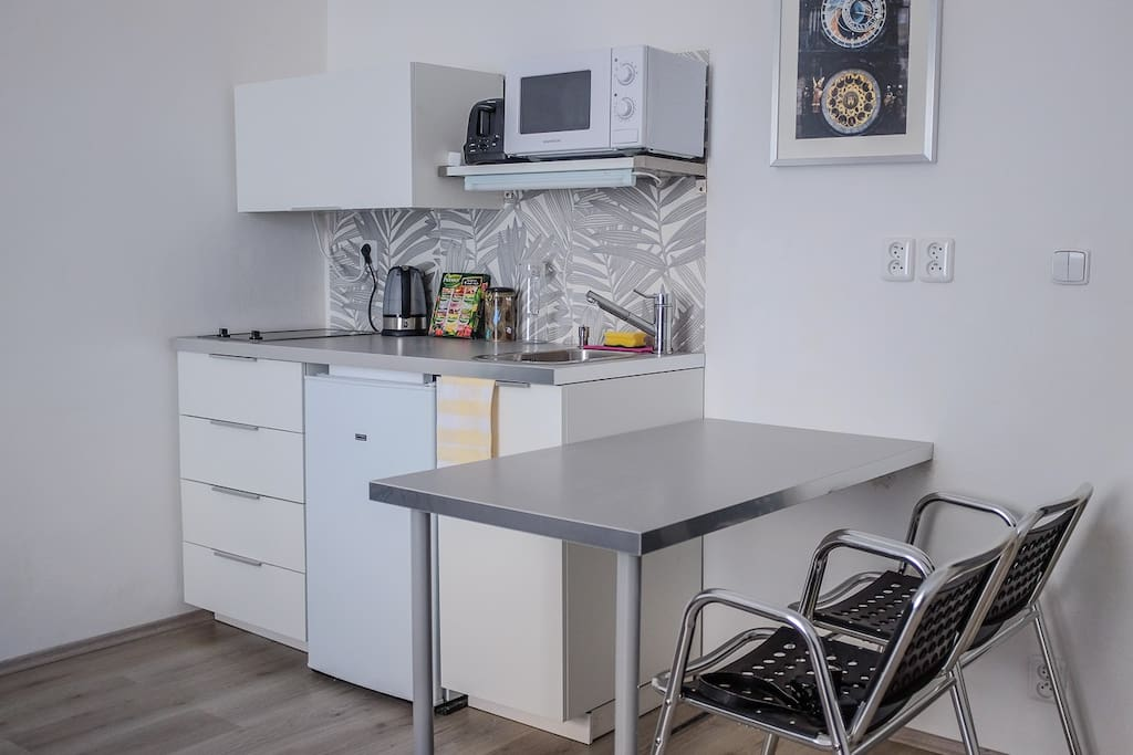 Small kitchenette equipped with all you might need for your holiday cooking.