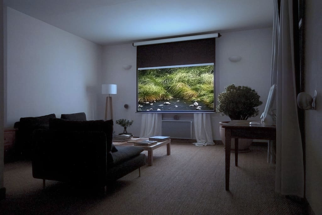 Le salon avec système de vidéoprojection HD et son surround 5.1 ---- The living-room with its HD projector and 5.1 surround speakers