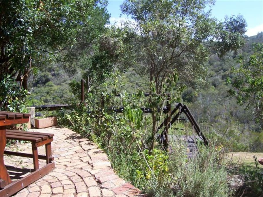 Relax or entertain guests in garden bordering unspoiled fynbos valley.