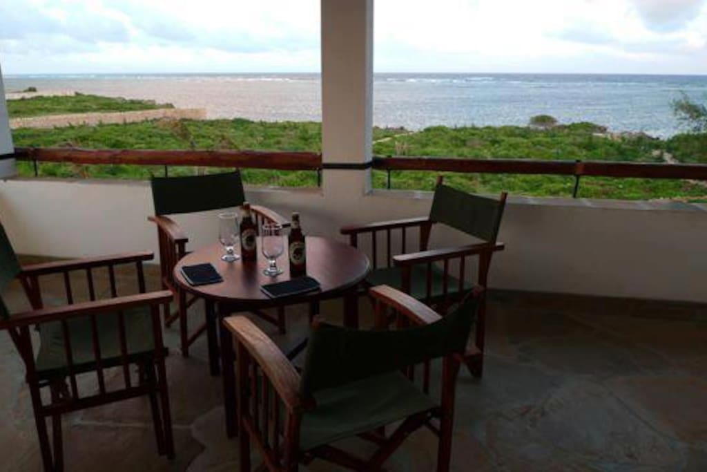 Beautiful ocean view from the upstairs verandah and bar.