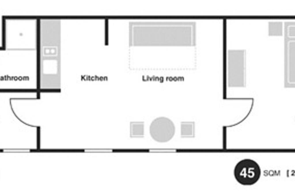 Floor plan of the apartment shows exactly layout and sleeping arrangements for 2 or 3-4 persons