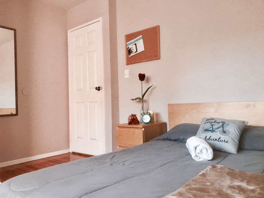 Spacious room twelve ft by eleven ft. Lock on door so you may have your own privacy