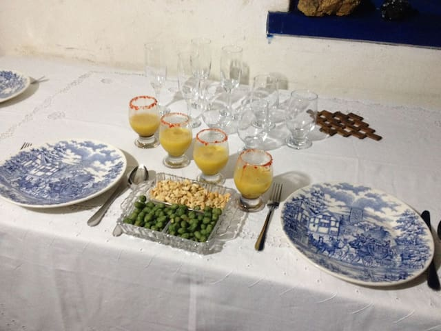 Nicely setting the table for Cafe de Manha rural style, freshly made food and fruits reaped from the land.