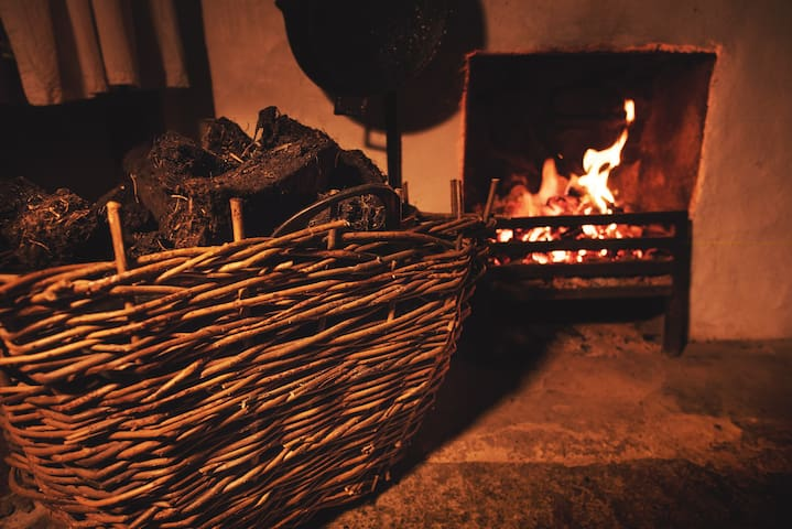 Turf (supplied by us) in a traditional wicker basket