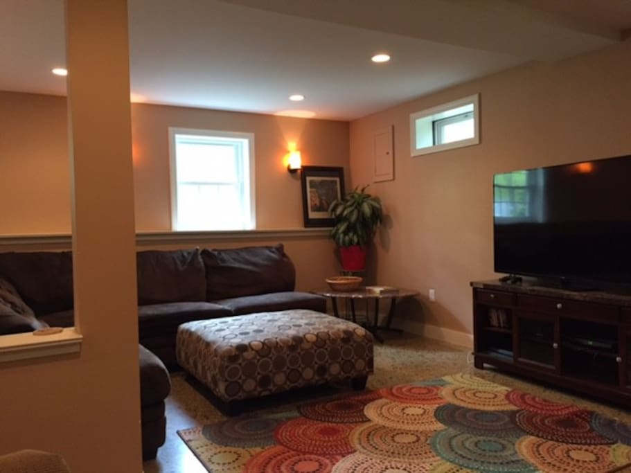 Guest suite: TV room with wraparound couch, lots of space to lounge.  Pullout sofa/sleeper.