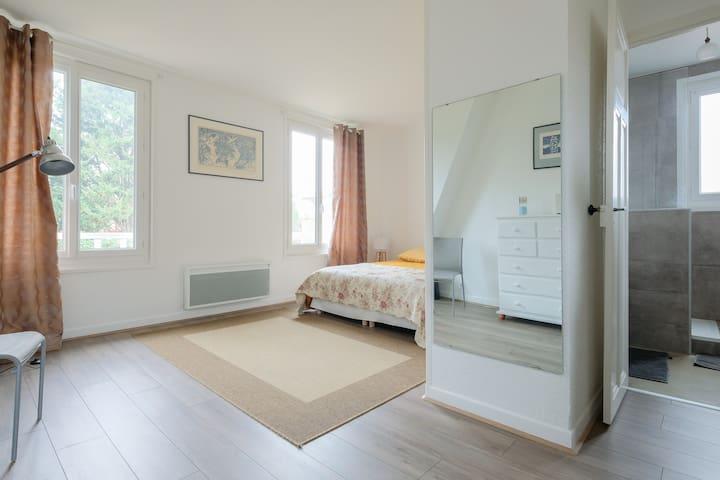 Une chambre très spacieuse donnant sur jardin et ruelle calme