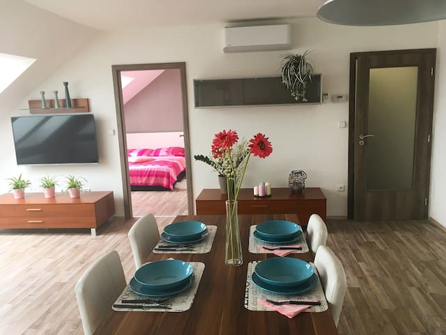 NEW flat + XL living room + AC + parking - Brno - Aparthotel