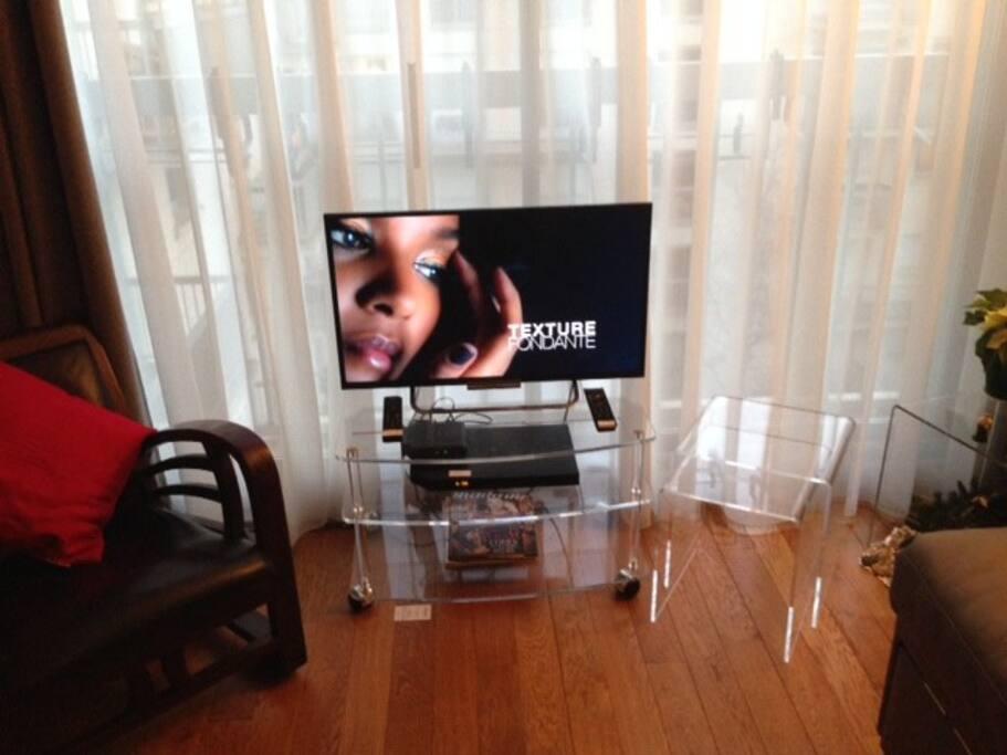 TV écran plat avec chaines sur réseau câblé d'ORANGE (plus de 150 chaines dans toutes les langues...)