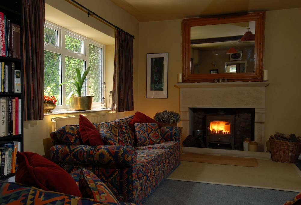 The living room is comfortable and has a wood burning stove.
