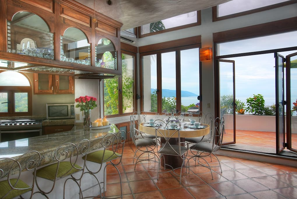 Kitchen with terrace view