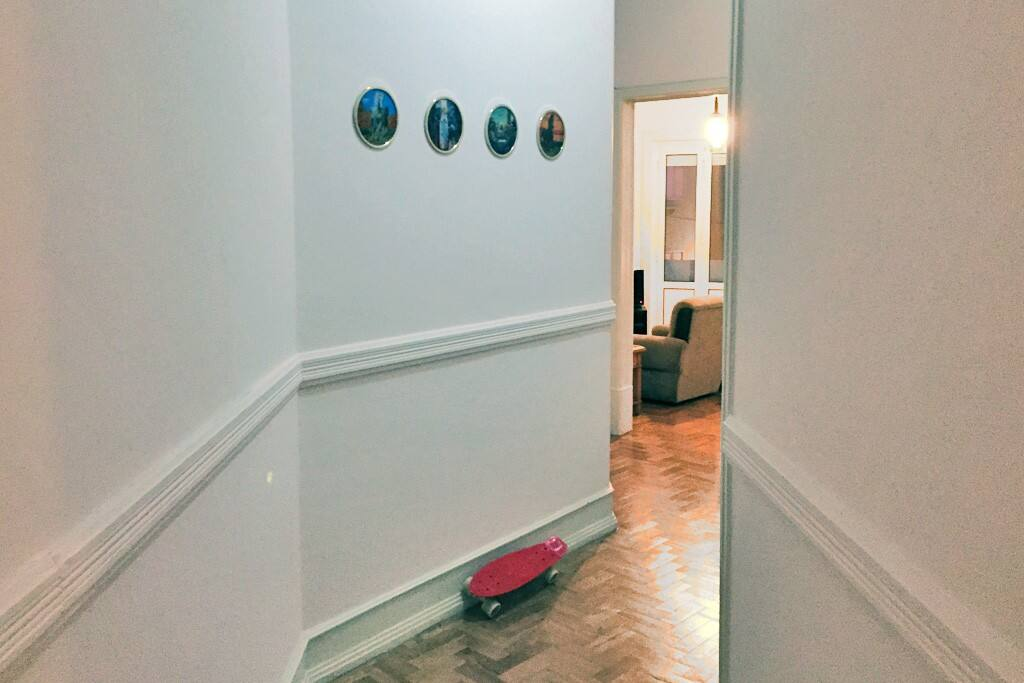 Feel free to skate through the long hallway to get to the living room and kitchen.