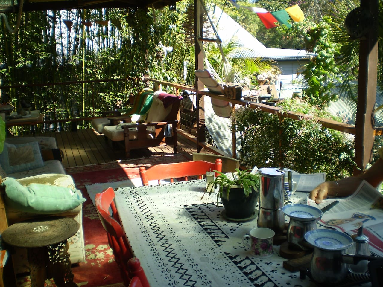 Sunny verandah for breakfast