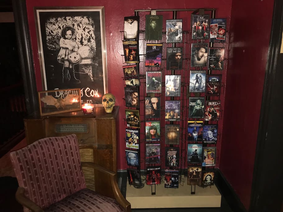 Your suite includes a private TV and horror library of 115 vampire dvds!  Enjoy!