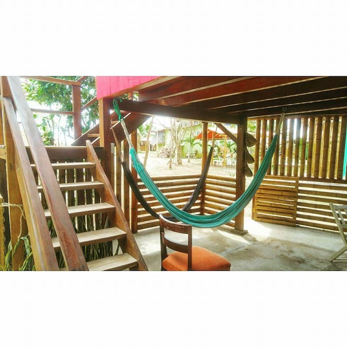 the living area with hammocks for perfect relaxation