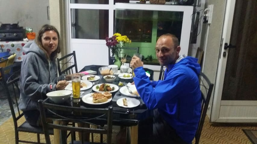 Our French guest having homemade dinner