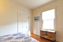 The bedroom is a spacious 170 square feet.
