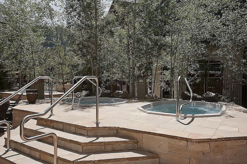 3 new hot tubs in a remodeled spa area in heart of village