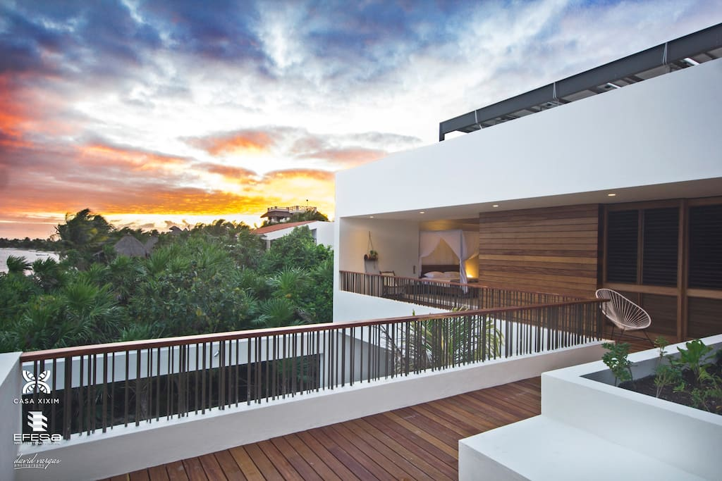 The East facing Sunrise Terrace with sweeping ocean views.