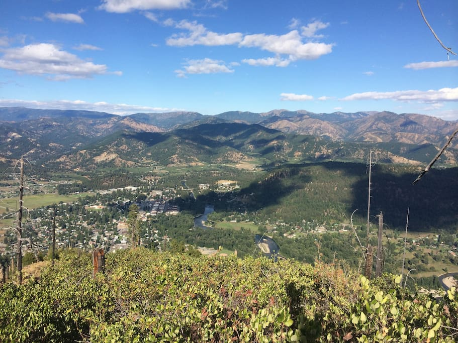 Birds eye view of town from Icicle Ridge.
