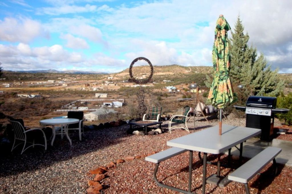 Barbecue, fire pit, swing, tables, chairs