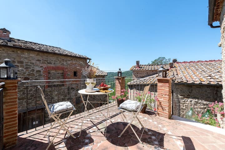 """Beautiful Holiday Apartment """"Casa Dovi"""" in the Chianti with Fireplace & Terrace; Parking Available"""
