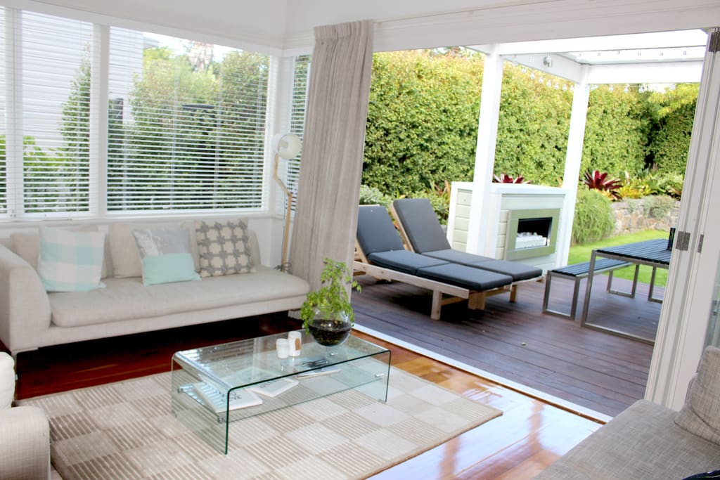 Indoor outdoor flow through to the back entertainment area