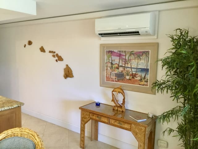 Hawaiian wall art and living area air conditioning.