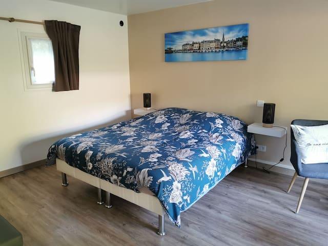 Chambre lit double 160 x 200 avec télévision et bz 1 personne