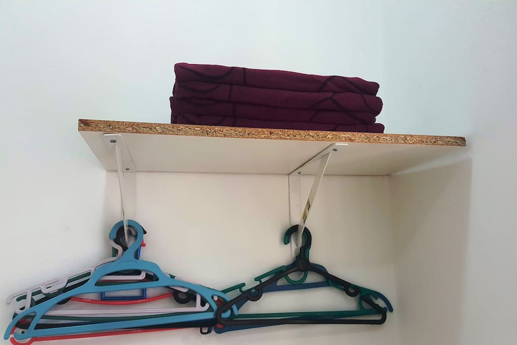 Towel & hangers provided