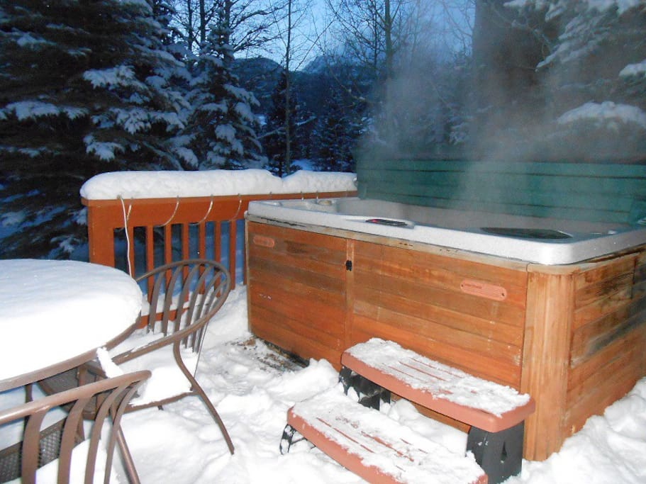Private 6 person hot tub