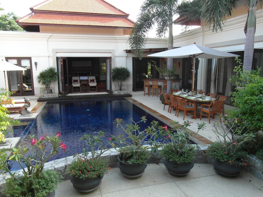 View over pool from the entrance door