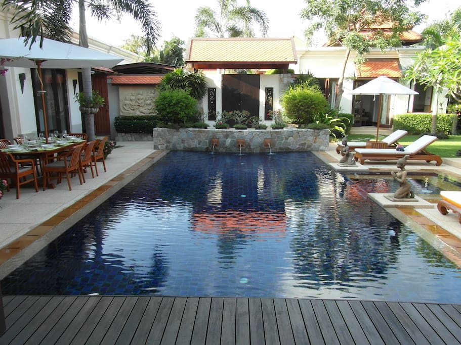View over the pool from the master bedroom