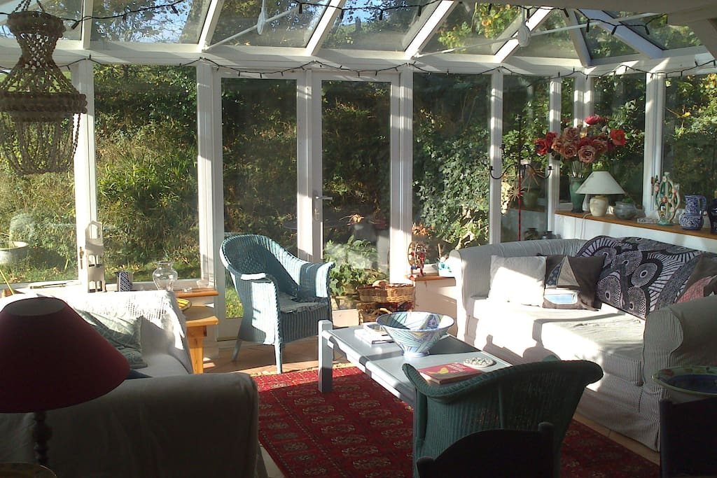 View of conservatory from dining room. With doors onto back garden