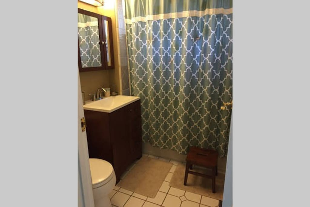 Upstairs bathroom, shared with one other bedroom.