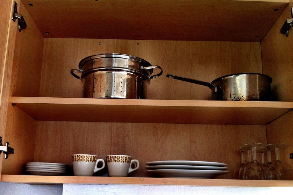 Kitchen is Equipped with Dishes, Cups/Saucers, Pots&Pans, Wine Glasses, Stainless Steel Cutlery, Knives etc