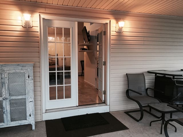 French door leading to your private patio and parking steps away.