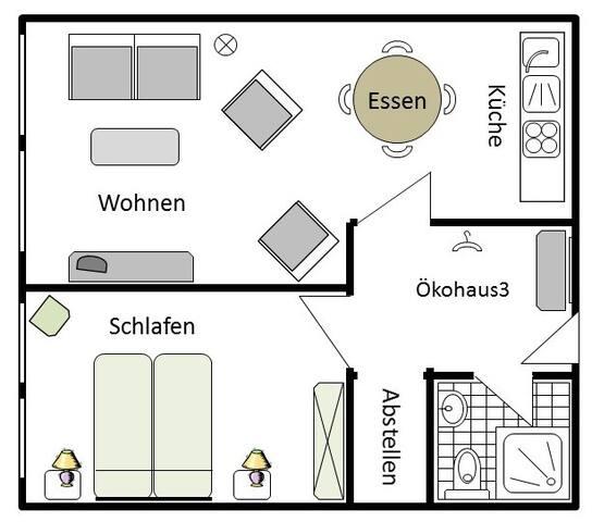 Hermeshof und Biohaus, (Titisee-Neustadt), Ökohaus 3, 45qm, 1 Schlafzimmer, max. 4 Personen