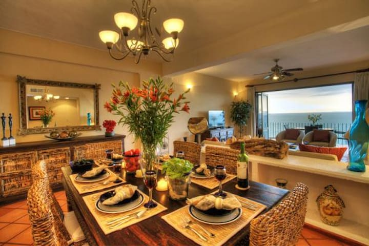 Spacious, beautifully furnished dining, living room with views of Banderas bay.