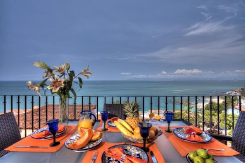 Luxurious outdoor dining for 6 with 180 degree views of Banderas Bay