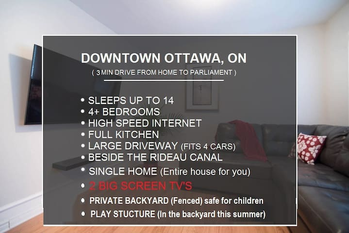 Downtown Rideau Canal single house - free parking!