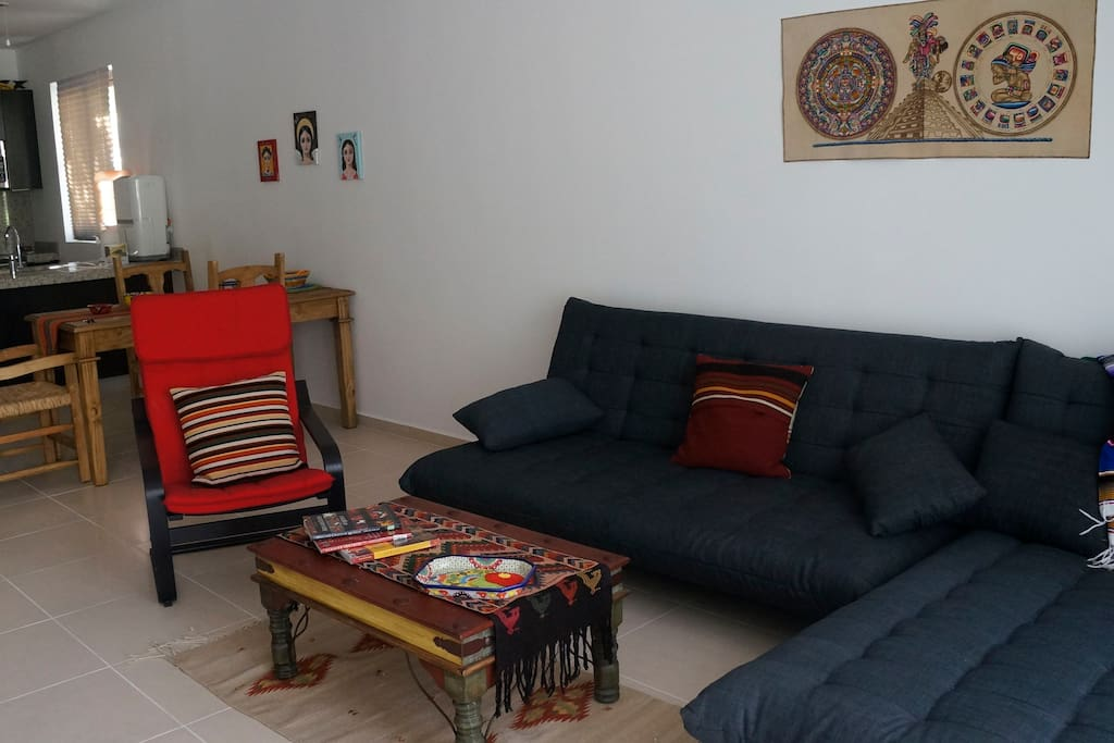 Living area with convertable futon to king size bed