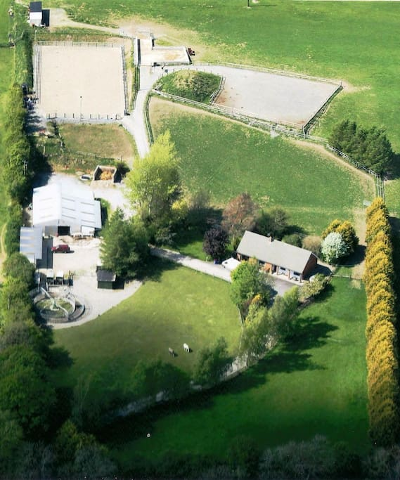 Aerial shot of the farm, holiday home is on the right, we live 300 meters away.