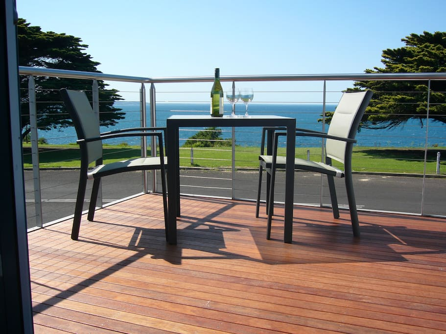 Enjoy breakfast or a drink from your own private balcony with beautiful sea views!