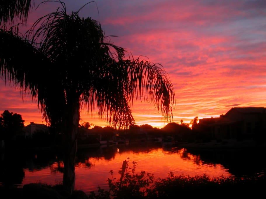 Beautiful sunrises  and moon risings over the lake